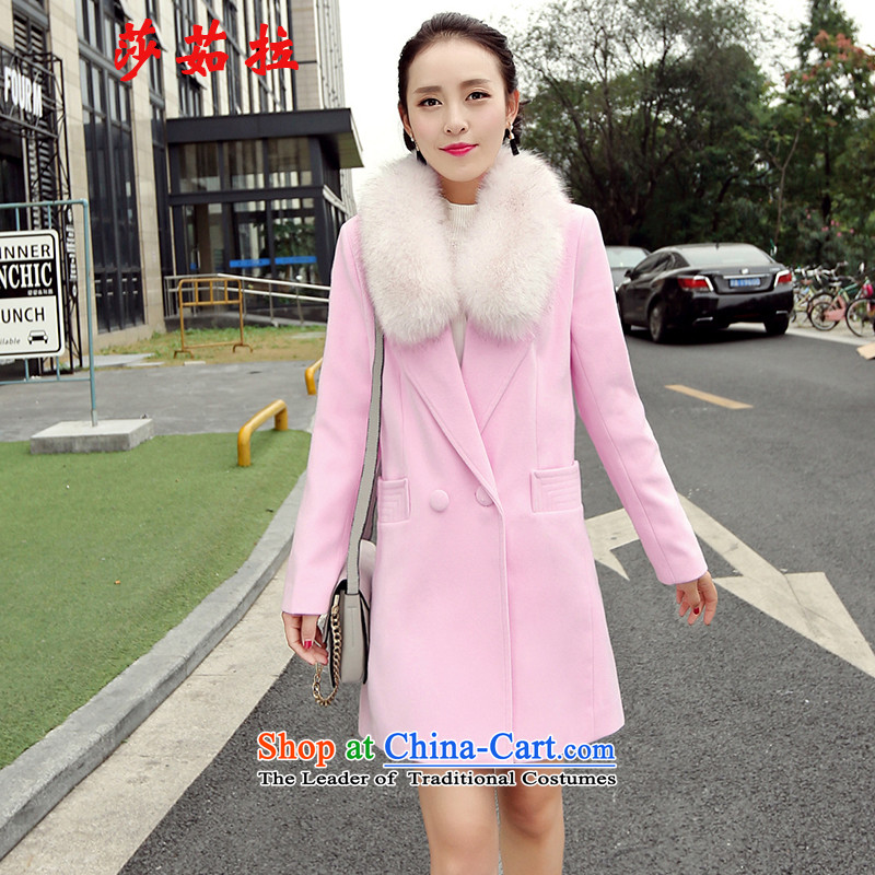 Elisabeth jula gross girls jacket? Long won long-sleeved Pullover Sau San a wool coat 2015 winter clothing new gross for thick coat pink L to gross collar