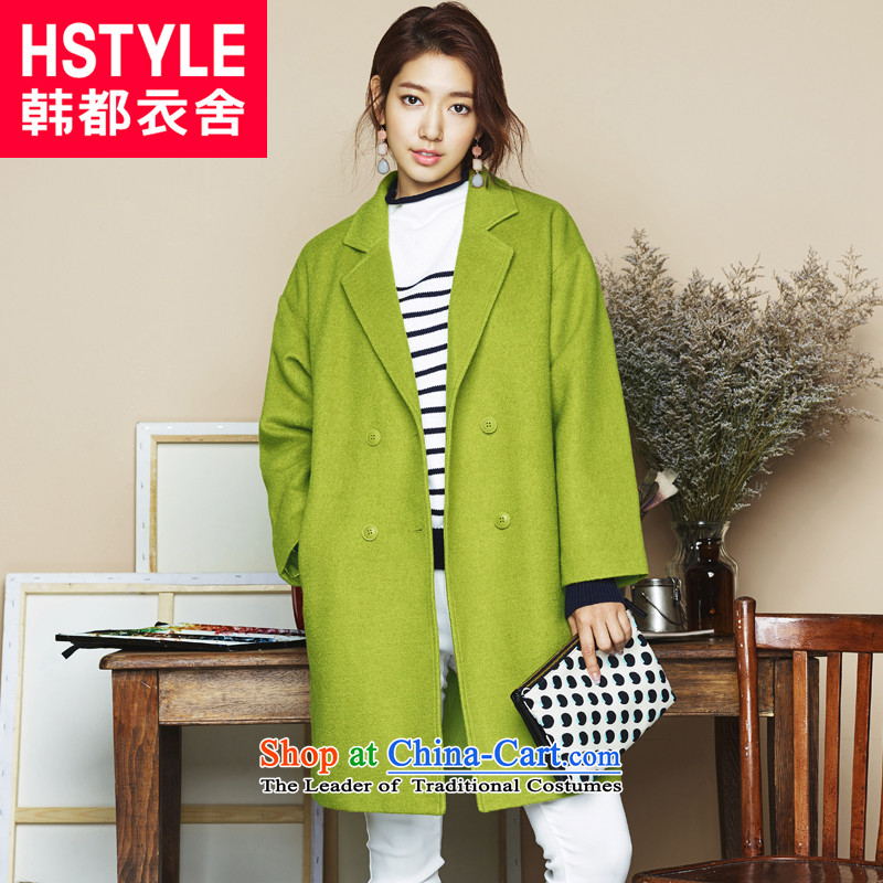 Korea has the Korean version of the Dag Hammarskjöld yi 2015 winter clothing new for women with a straight double-video thin coat IG4837?(2) gross fruit green L