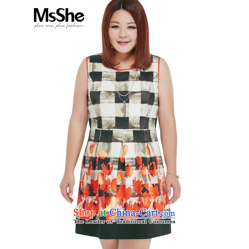 To increase the number msshe women 2015 new fall inside the aircraft collision-color printing MM thick vest dresses 10273 on white�L stamp