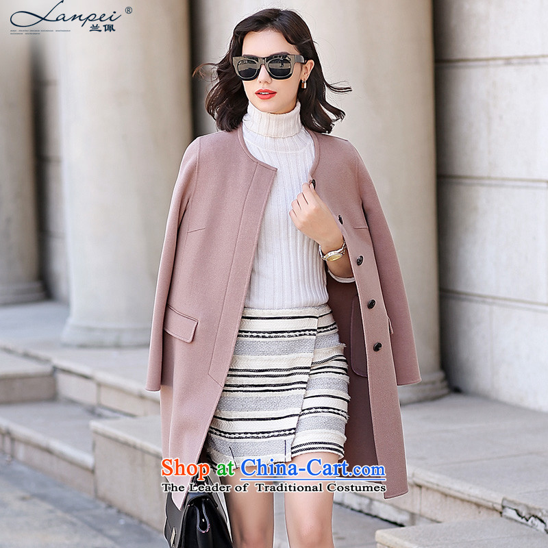 Estimated 2015 Autumn Load New Pei) manual two-sided woolen coat girl in this long candy colors? pink leather jacketL