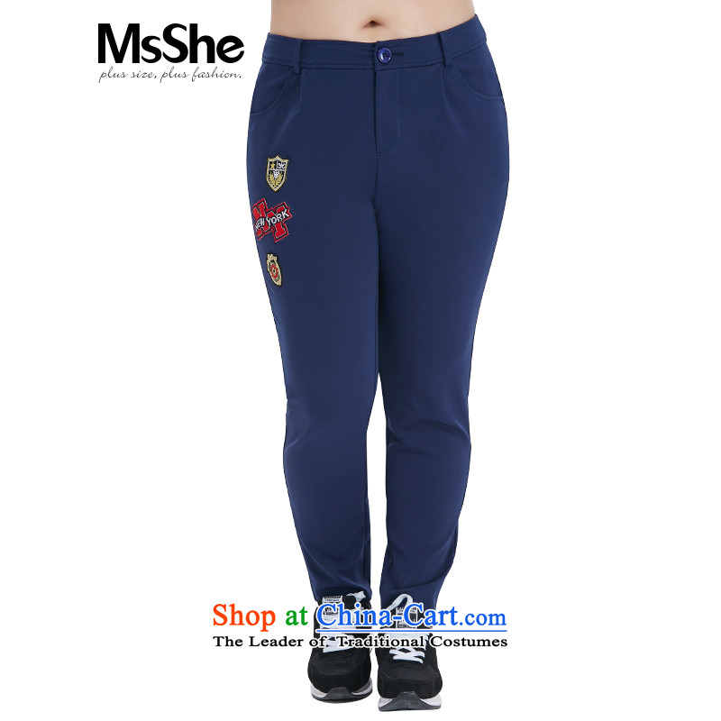 To increase the number msshe women 2015 new MM thick autumn replacing ladies pants decals graphics thin pant 10487 blue燭5