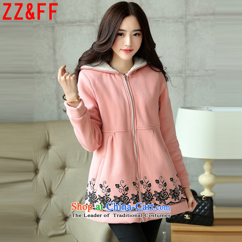 The autumn 2015 new Zz&ff larger female thick MM200 catty the loose coat female WT8816 lint-free pink XXXL( recommendations 165-200 catty)