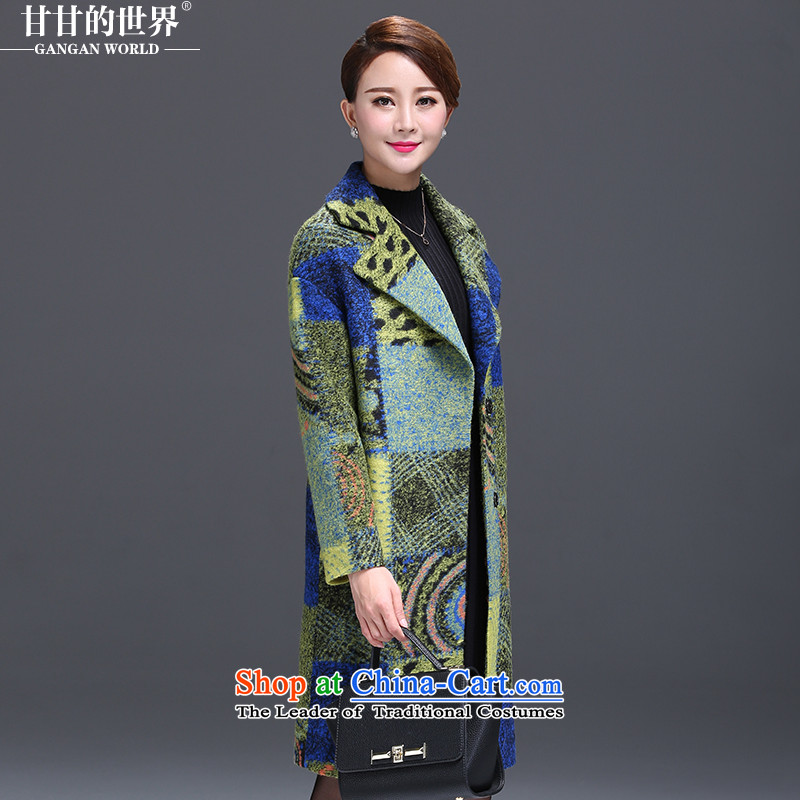Gangan World 2015 autumn and winter new gross girls jacket? long large double-colored grid wool a wool coat gross? coats female Green Grid Color2XL
