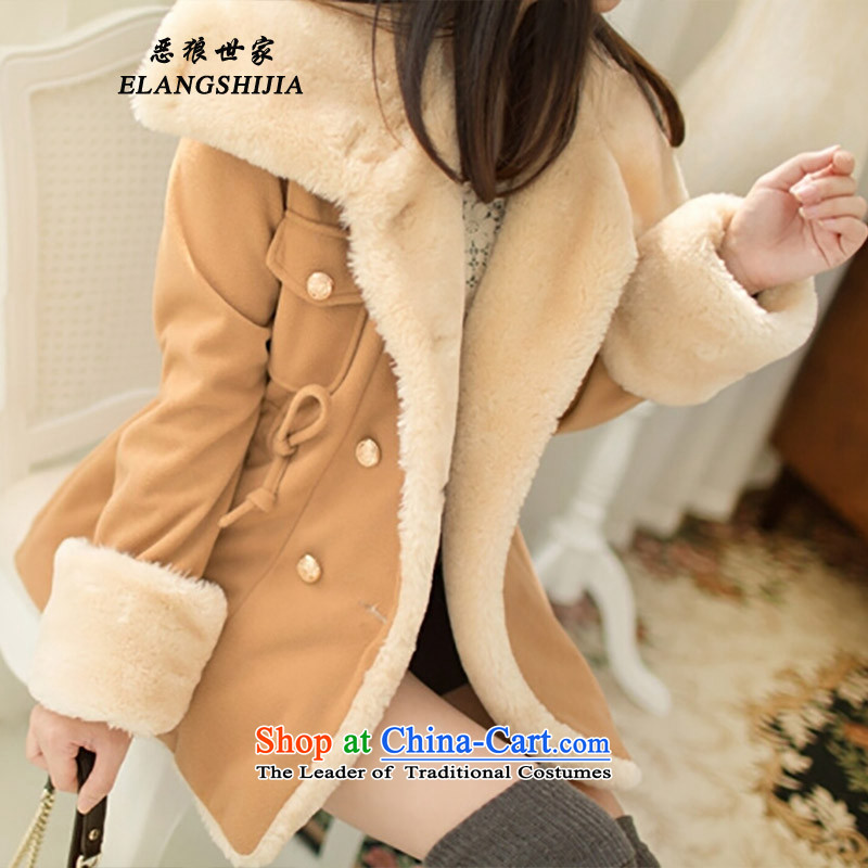 Fierce Wolf saga of autumn and winter 2015 thickened the new multi-color Korean Sau San video thin double-Preppy Jacket coat? female gross 888 and Color M