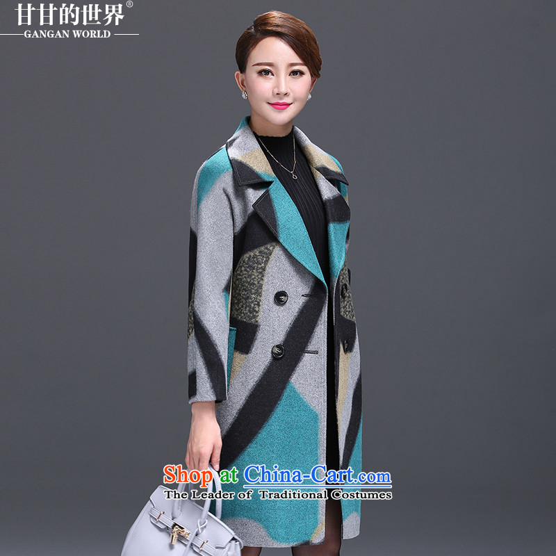 Gangan World 2015 autumn and winter middle-aged female woolen coats in T-shirt? long to XL Graphics thin winter woolen coats of a multimedia message color�L
