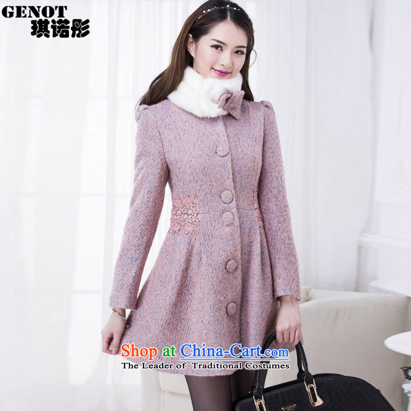 The 2015 autumn tung hsin new coats of a bow tie_?? coats female Sau San Gross 1088 RED M