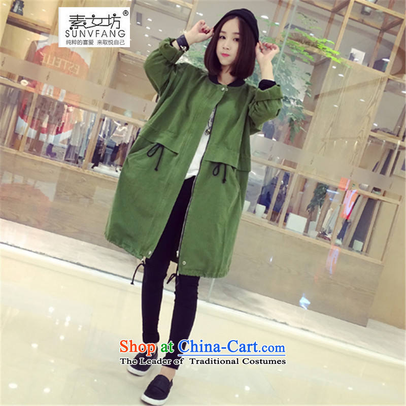 Motome Workshop 2015 autumn to load new women xl 200 catties thick MM thick sister loose video jacket in thin Long Hoodie 9177 Army Green 5XL 180-215 recommended weight catty