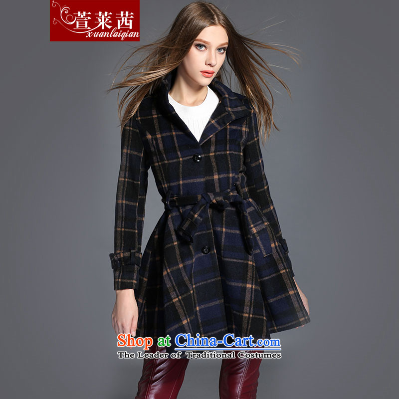 Xuan, Mrs Ure2015 autumn and winter Western New Plaid wool coat girl who decorated but in long tartan jacket picture colorL