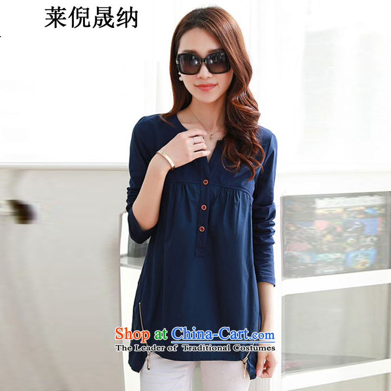 Mr NGAI Shiu-shing, Blair autumn 2015 new xl women in long Sau San V-Neck long-sleeved T-shirt shirt female navy XXL