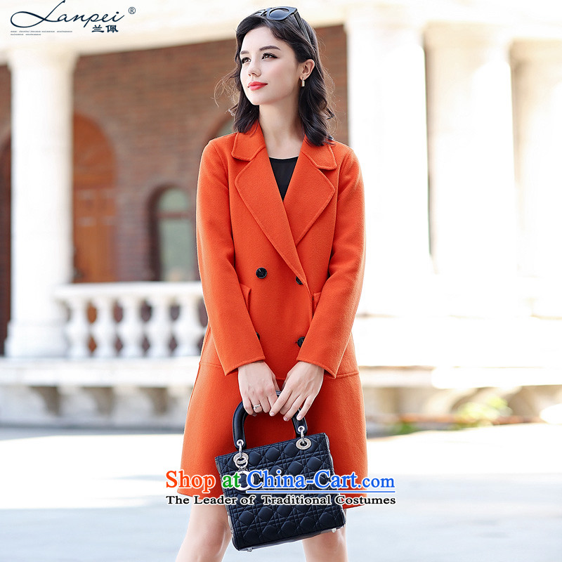 Ho Pui 2015 new sided flannel woolen coat girl in long double-side coats gross Korean female jacket? orange M