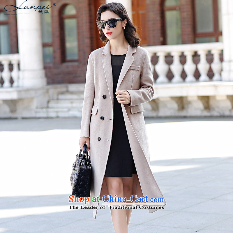 In the autumn of 2015, the new Pei-sided flannel woolen coat long wool coat female gross?? beige jacket聽M