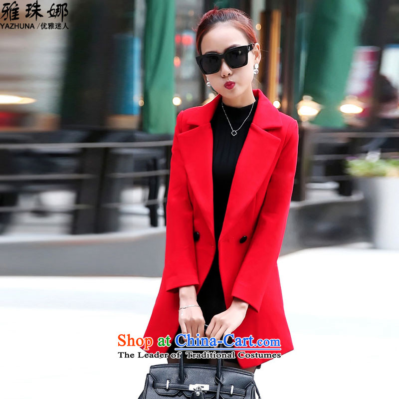The Pearl of the Nga 2015 autumn and winter new Korean fashion in gross? jacket Sau San long hair? a female NNJP2D1013_ coats red L
