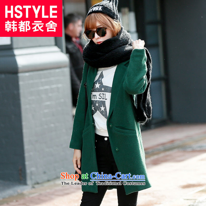 Korea has the Korean version of the Dag Hammarskjöld yi 2015 winter clothing new products for women and two-tone youth solid color graphics in the thin long hair OR4897 Restaurant Green Jacket? M