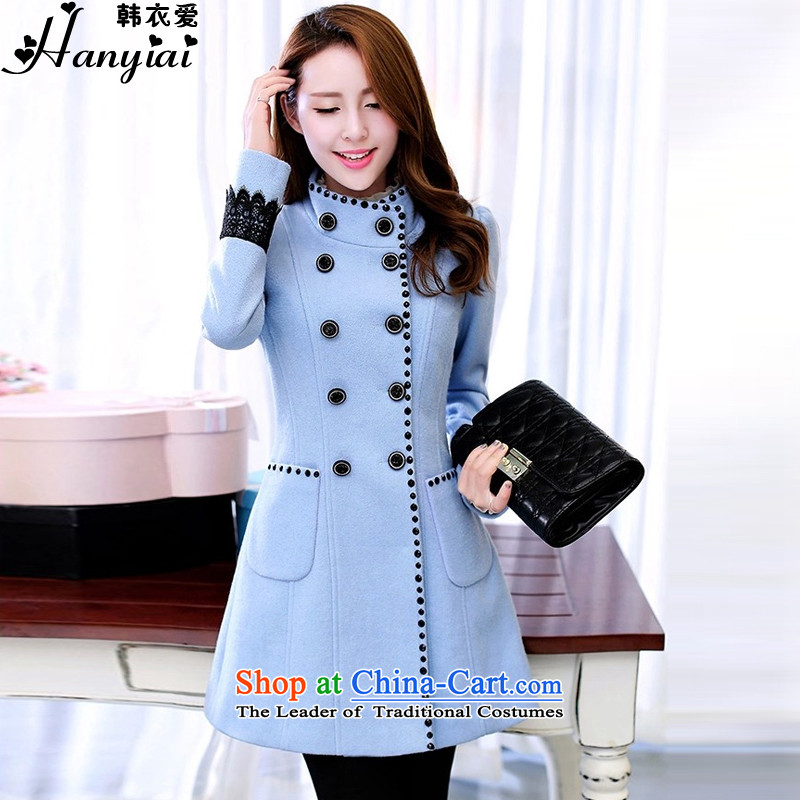 Korea Yi Love 2015 Fall_Winter Collections new Korean Sau San over the medium to longer term gross coats Female�056?爓ater blue燣