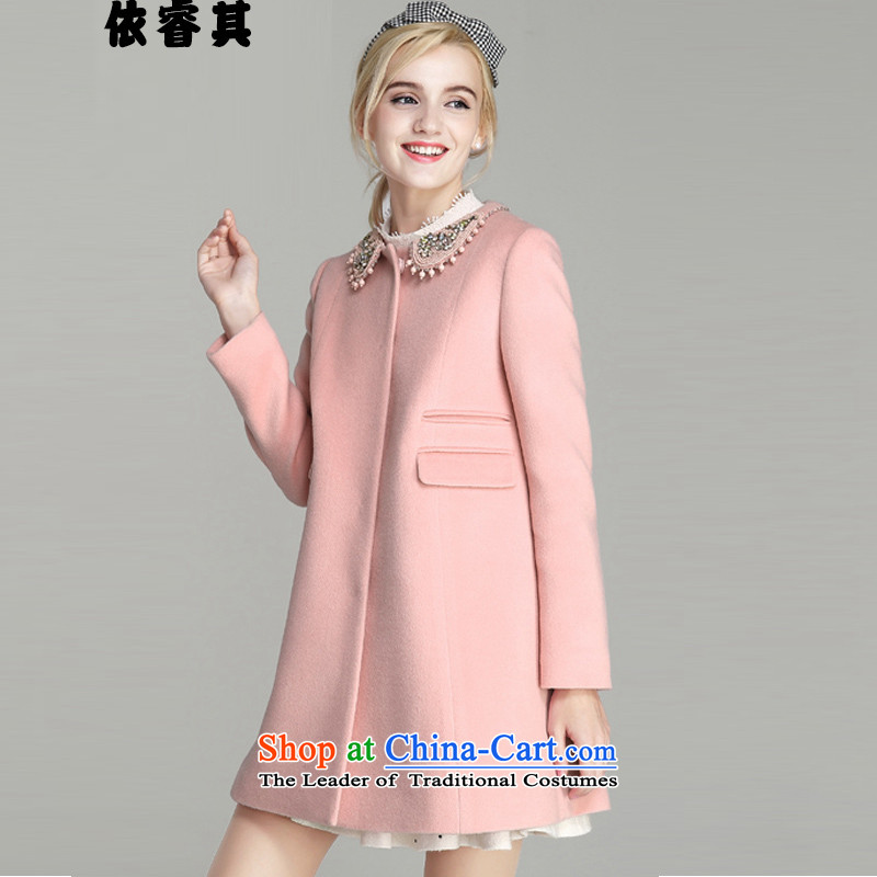 In accordance with the core of its 2015 autumn and winter New Women Korean female jacket is     in the gross long graphics thin a wool coat female jacket pink燤
