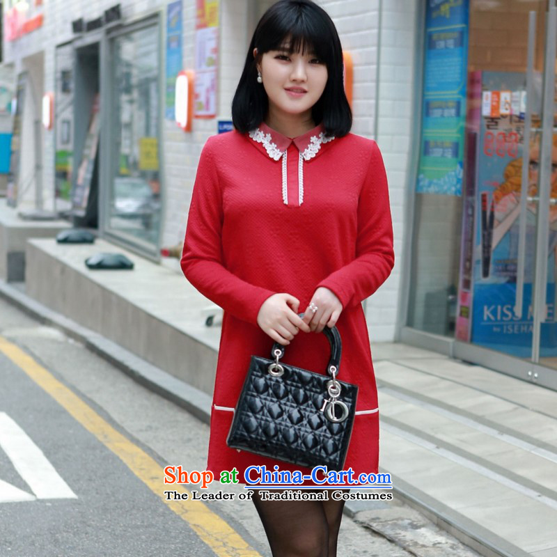 2015 Fall thick MM dresses extra dresses to increase women's dress code OL commuter lady knitted short skirt wear skirts red female Red聽4XL聽approximately 170-185 skirt catty