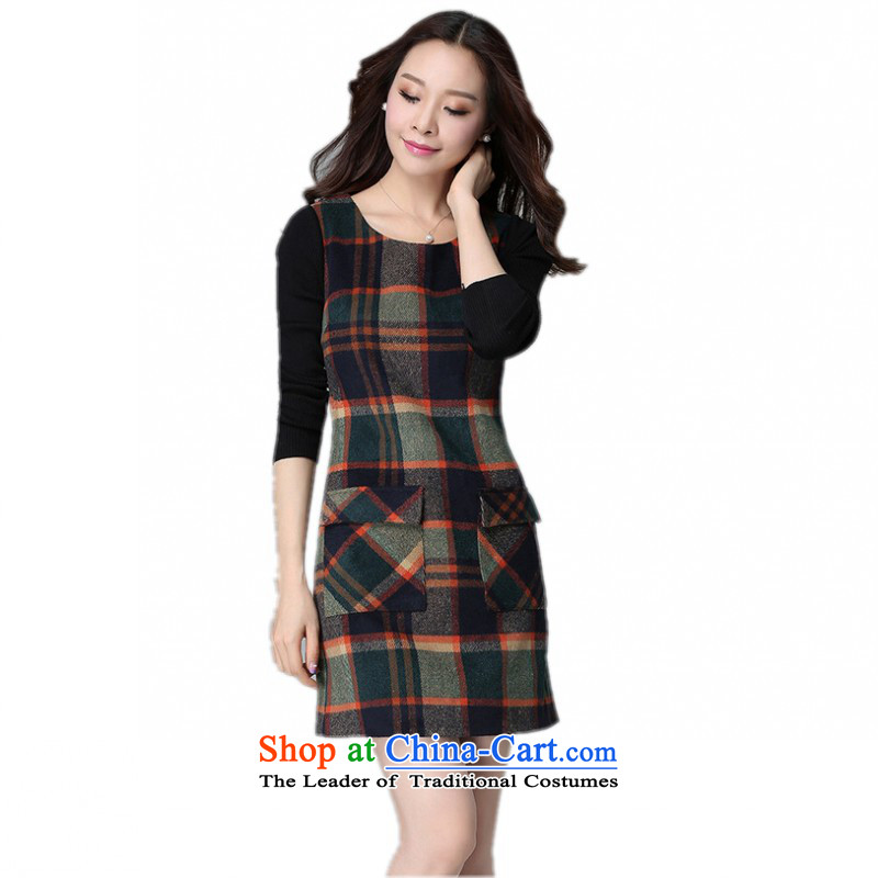 The Korean version of the XL dresses 2015 Fall/Winter Collections new grid long-sleeved gross skirt round-neck collar of the Sau San? commuter forming the skirt thick Mei short skirt with dark green video thin3XLabout 155-170 catty