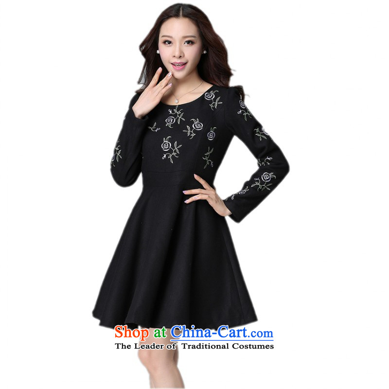 Thick Mei xl dresses 2015 Fall_Winter Collections of the new Korean round-neck collar long-sleeved autumn skirt embroidery patterns Foutune of female skirt Black Hair? m thick black skirt燼round 140-155 2XL catty