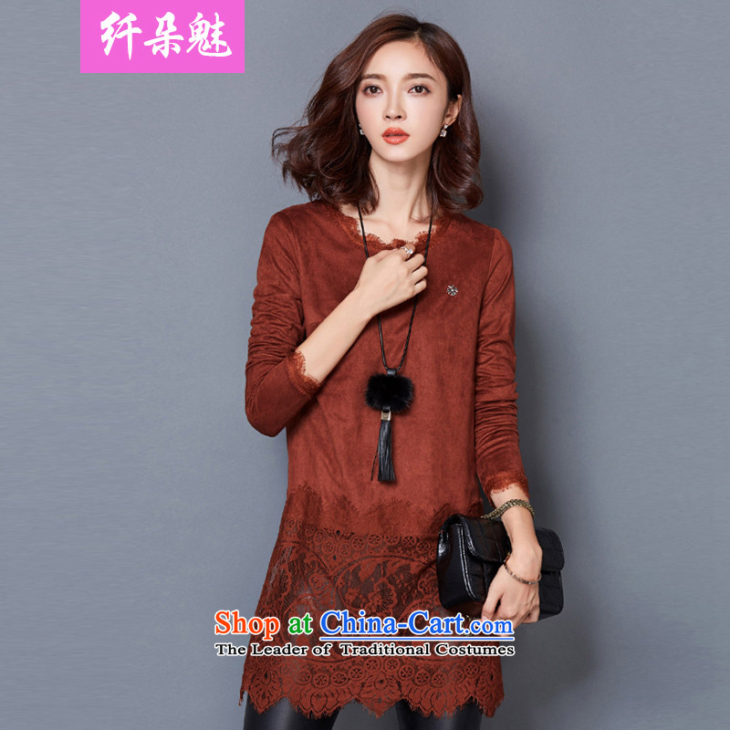 Small Flower of 2015 Fall/Winter Collections new larger women in long lace stitching long-sleeved shirt, forming the lint-free coffee-colored  M #D1296