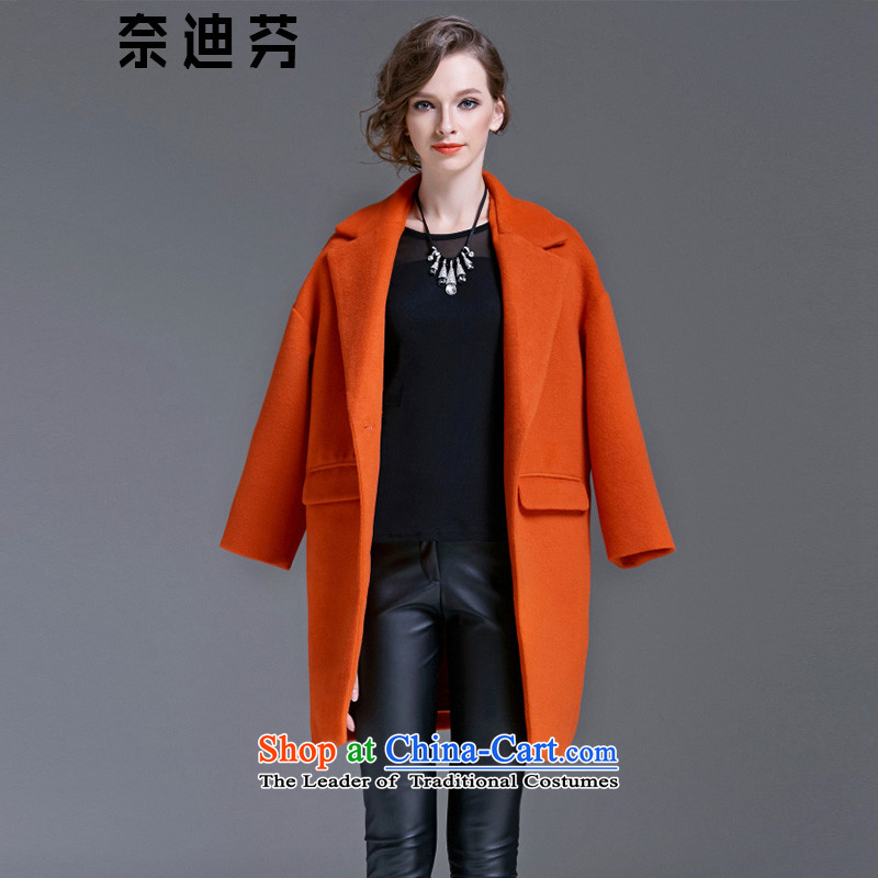 The Deere fen 2015 Fall/Winter Collections of European and American Women's new jacket coat girl in long thick solid-colored shirts large long-sleeved wool Ms.? cashmere overcoat female red-orangeM