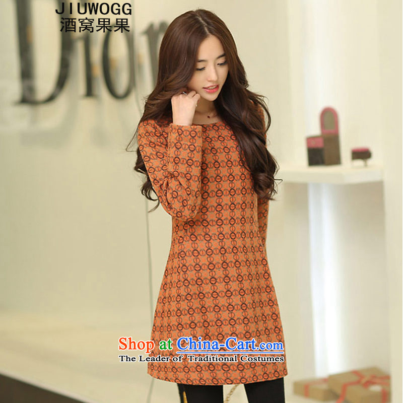 Dimple jelly 2015 autumn and winter new Korean version of large numbers of ladies in MM thick long thin round-neck collar forming the video A gross? dresses 596 Orange�L