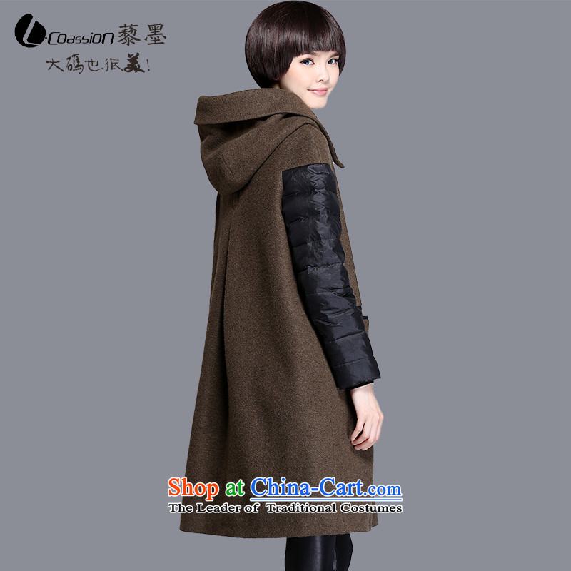 The 2015 autumn and winter and the new wool coat girl in long?_ Single Rank detained with cap feather stitching gross?�65燗rmy green jacket燣 good news spot