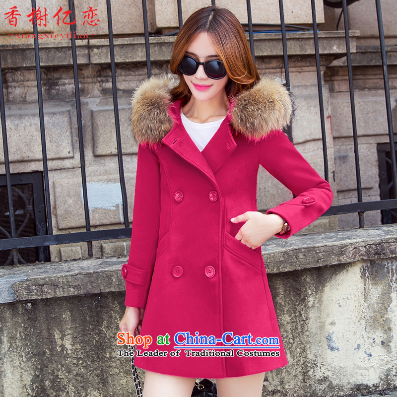 Champs billion Land 2015 Autumn new gross coats female hair? For pocket long Korean female jacket is   Gross X681 better red燣