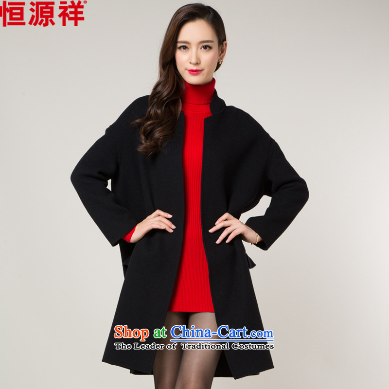 Hengyuan Cheung double-side woolen coat women 2015 Fall/Winter Collections elegant bar in long wool coat female black 165/M?