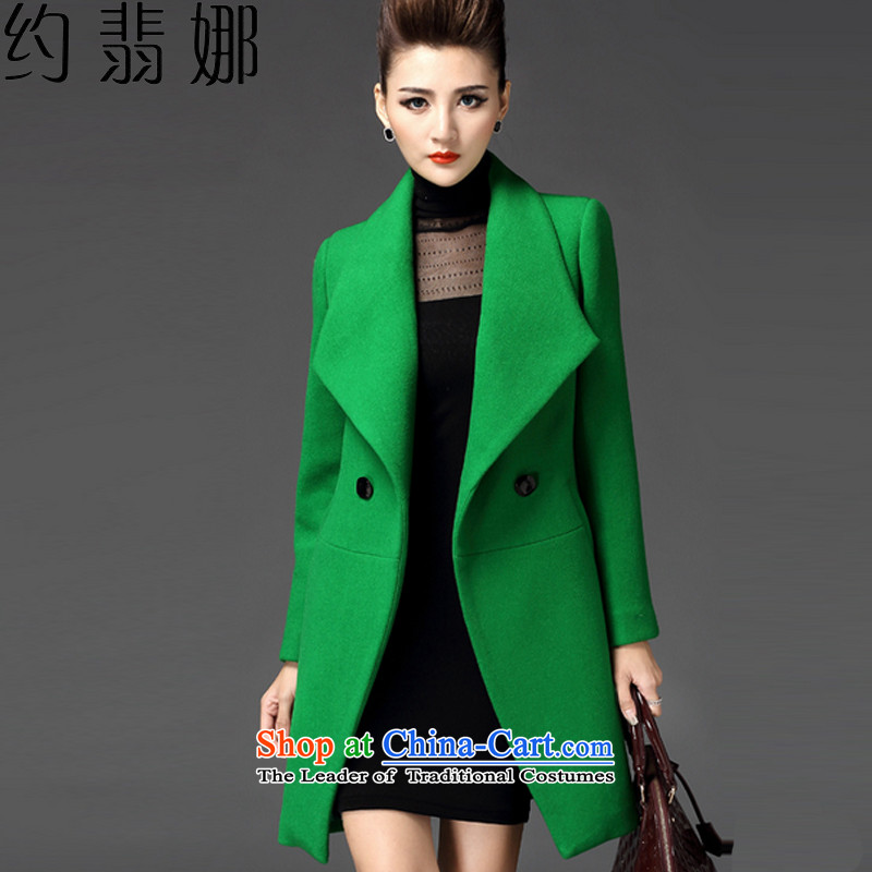 About the 2015 autumn and winter desecrated by the new for women in Korean long a wool coat jacket coat? female gross 8899 Green XL