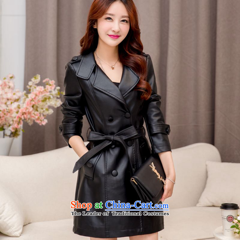 The Doi聽2015 XL female thick winter clothing windbreaker mm thick sister in thick long leather jacket 200 catties聽3XL black recommendations 160-175 catty
