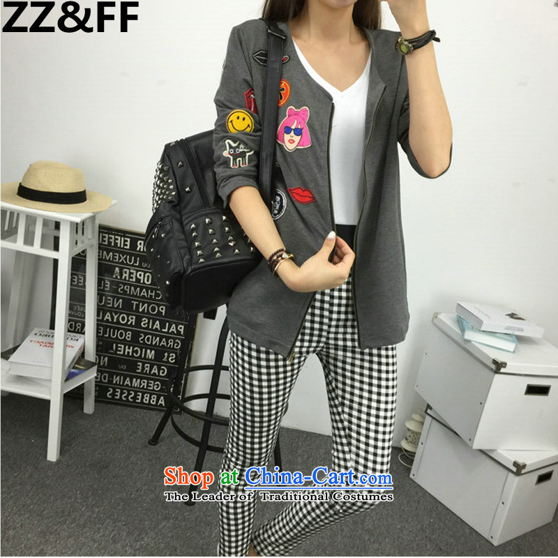 Large 2015 Zz_ff female autumn and winter 200 catties thick sister cardigan jackets, trousers, forming the elastic power bullets two-piece set with female picture color two kits燲XL_ recommendations 120-140 catties_