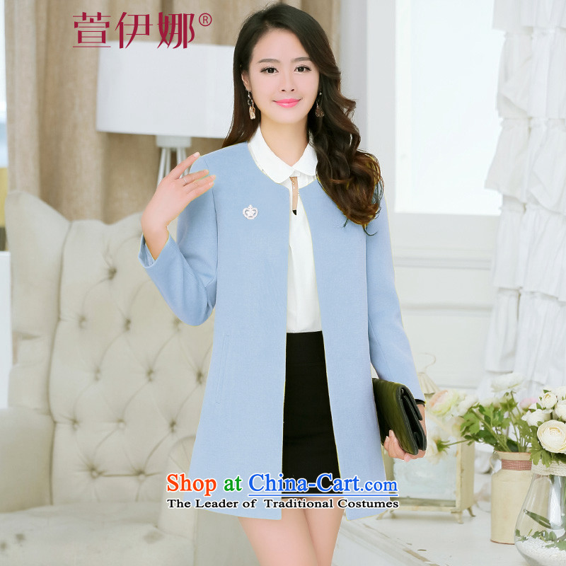 Xuan ina autumn 2015 installed new women's gross?   in the Korean version of coats long stylish round-neck collar long-sleeved solid color jacket female XX8515 gross? light blue M