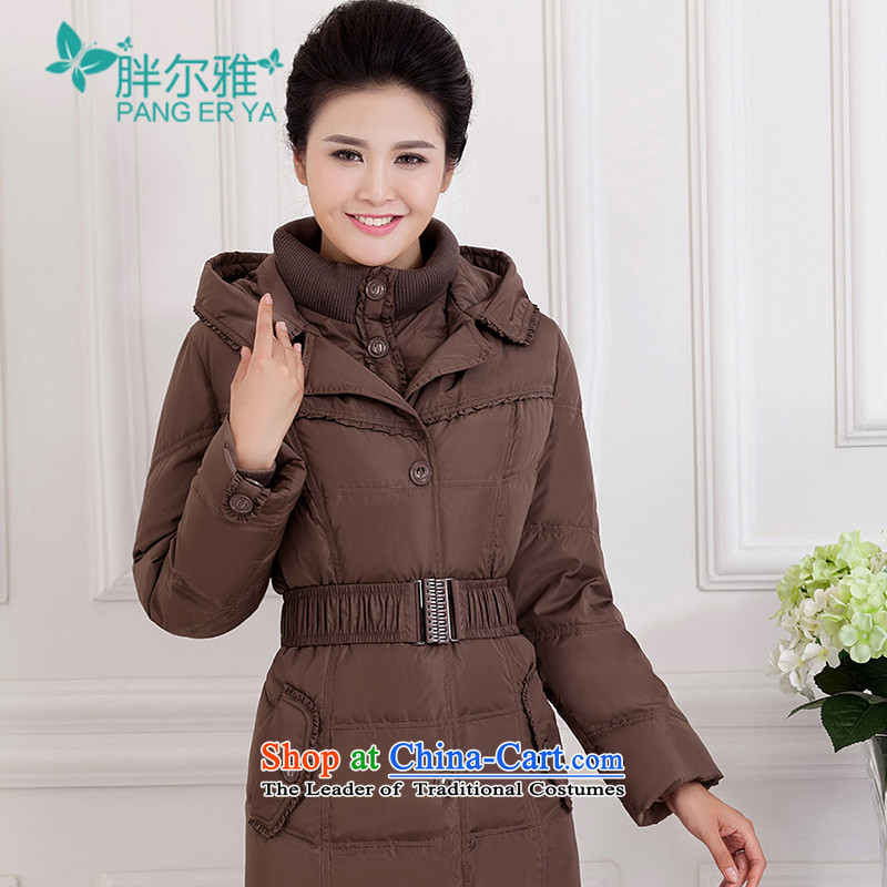 Europe and the large number of women in the long down loaded thick warm moms long-sleeved winter clothing in the New Age Beauty thin jacket coat graphics card, gray燲XXXL
