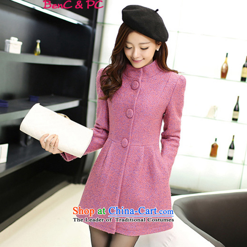 Gross? 2015 autumn and winter coats female new_ long temperament a wool coat Korean version of large numbers of ladies Mui purple M