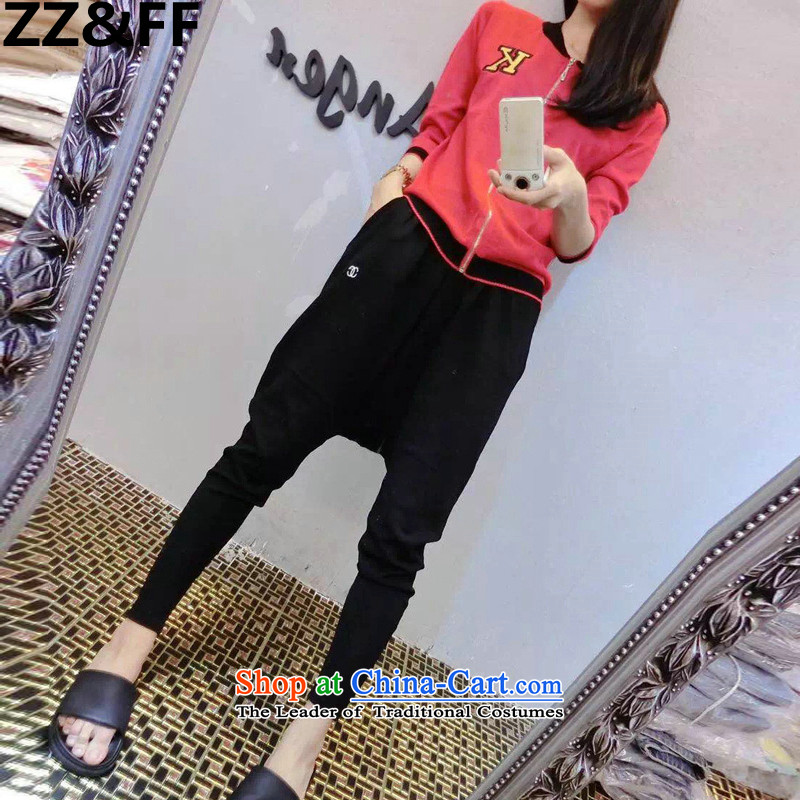 The European site 2015 large Zz&ff code ladies casual Kit Fat MM baseball services jacket elastic waist trousers Harun Two-piece set with the picture color XL( recommendations 100-120 catties)