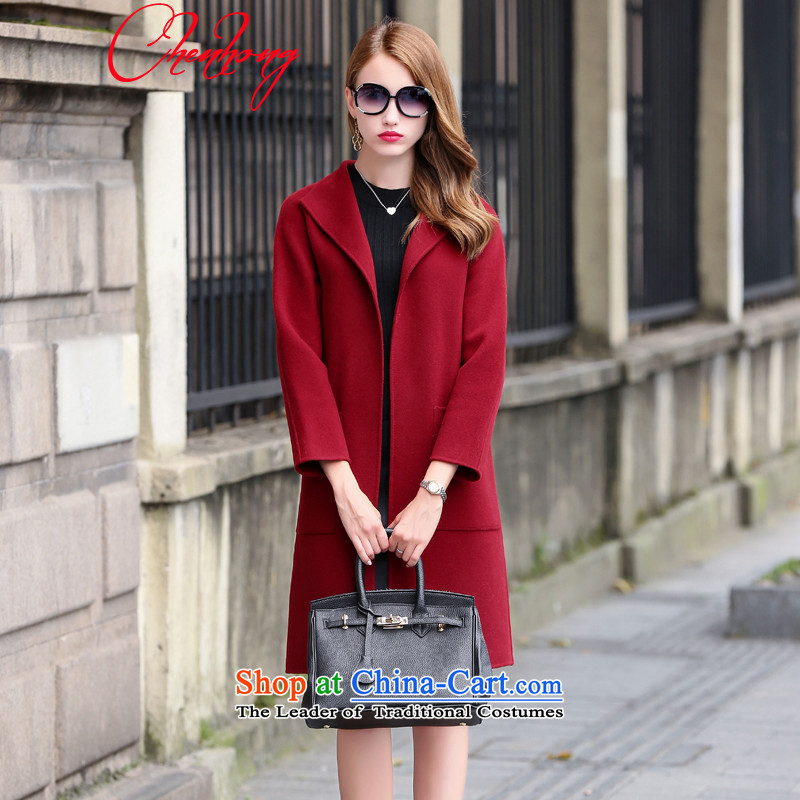 Morning Red _C.H_ 2015 autumn and winter Ms. new products Sau San video double-side thin coats that long coats BOURDEAUX聽L cashmere