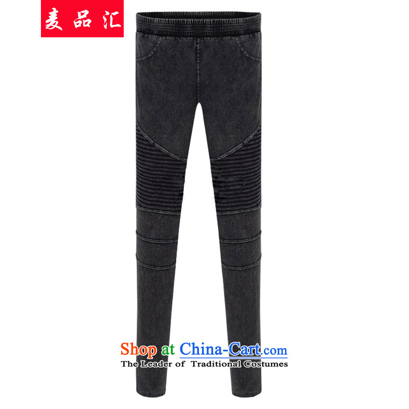 Mr Mak King Europe removals by sinks Code No. female 200 catties castor trousers thick mm Sau San to xl elastic waist wild stretch video thin jeans snowflake money-water 6127 4XL