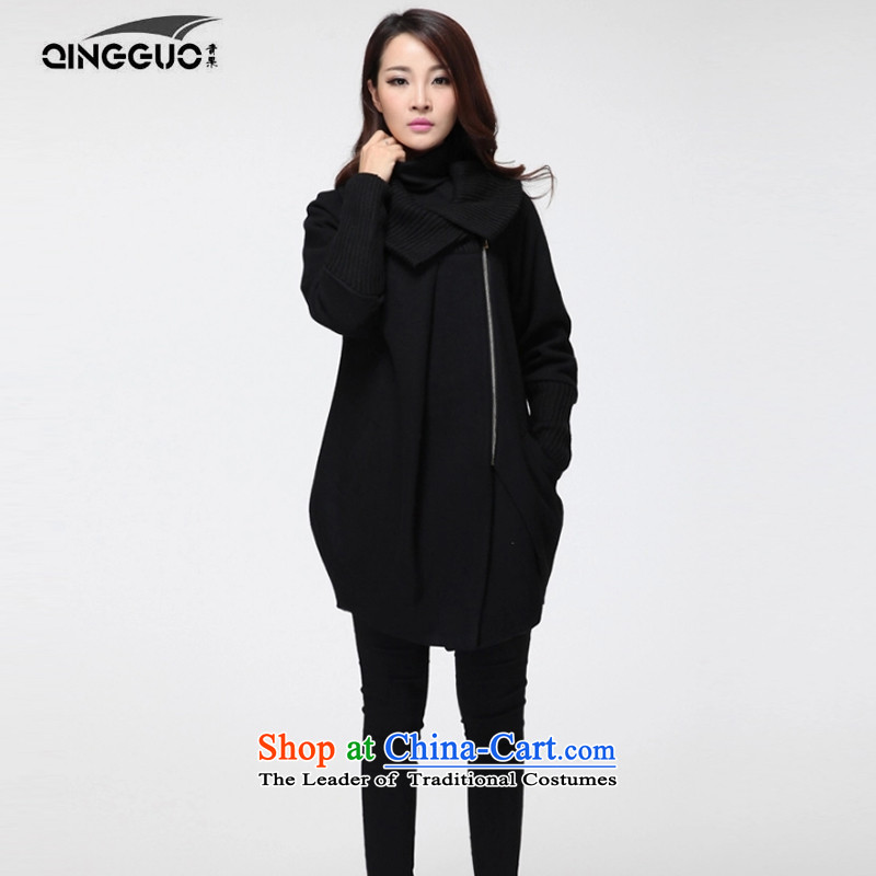 Fruit to increase women's code of winter clothing in the new mm thick long jacket coat gross? black large XXXXL code