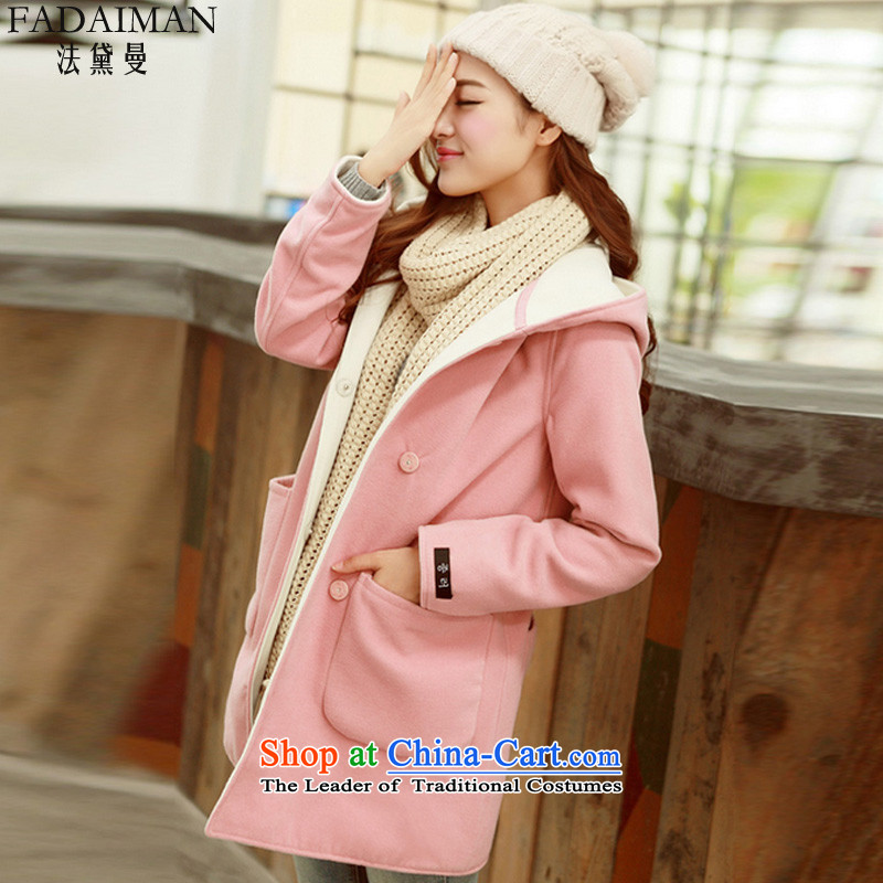 The law of the Cayman�15 autumn and winter Doi New Sau San sweet cardigan a wool coat Korean thick with cap in long hair? Wind Jacket female pink燤