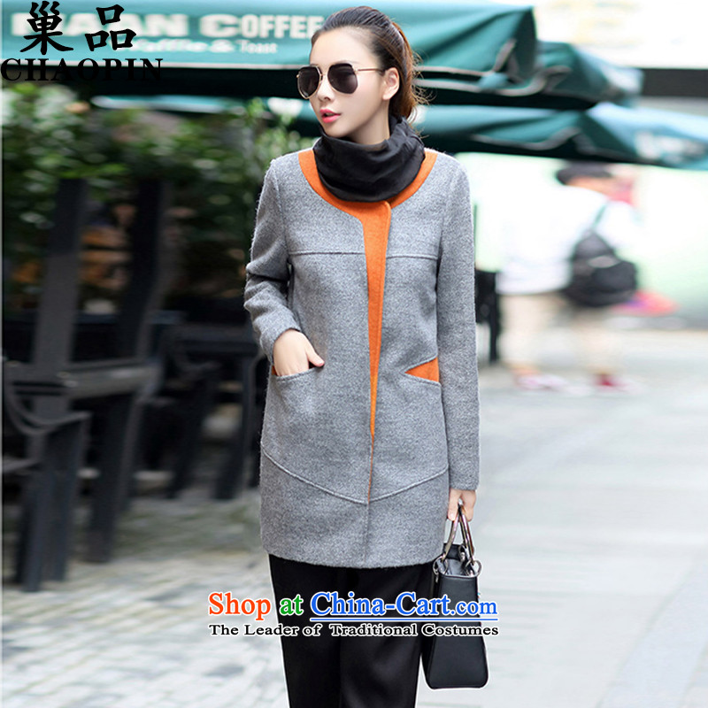 The nest products2015 autumn and winter new women's large so the coats that long without collars long-sleeved jacket female gray color spellL
