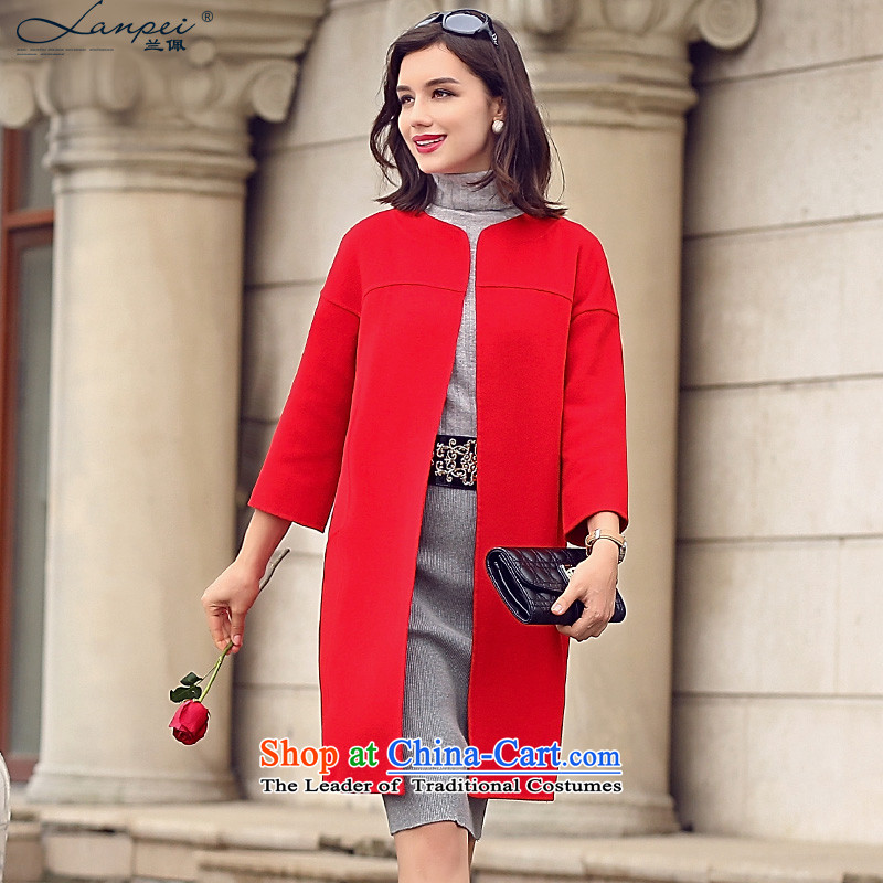 Ho Pui manual two-sided woolens wool coat female cashmere cloak? The Girl in the long without collars gross large red jacket coat? pre-sale 7 days燣