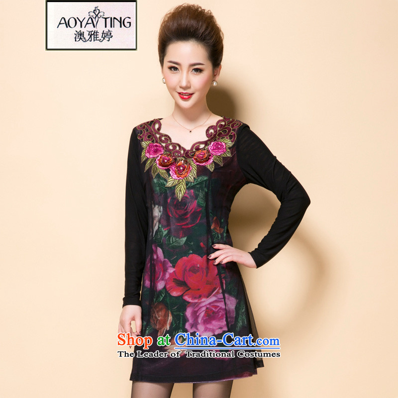 O Ya-ting tai code women in the autumn of 2015 new stylish elderly mother replacing the skirt of thoughtful amenities flower graphics thin, forming the Sau San skirt female black4XL