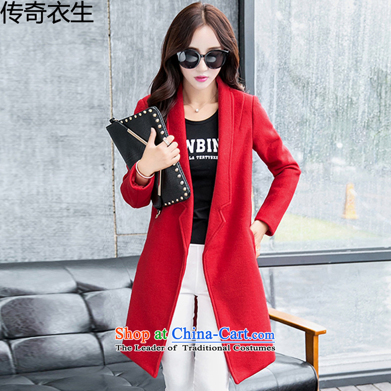 Legendary Yi Sheng 2015 autumn and winter new Korean Version Long Hoodie suit for Sau San a wool coat jacket C9723 RED M
