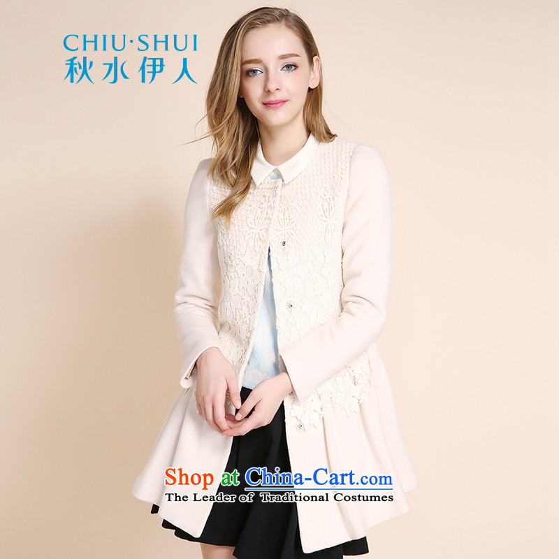 Chaplain who winter clothing new women's elegant pure color lace hook in Sau San long, spend? coats beige 170_92A_XL gross