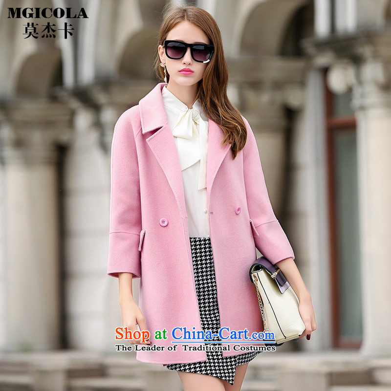 Mok Card 2015 autumn and winter new sided flannel coats H-Western wind hair? jacket woolen coat women pink S