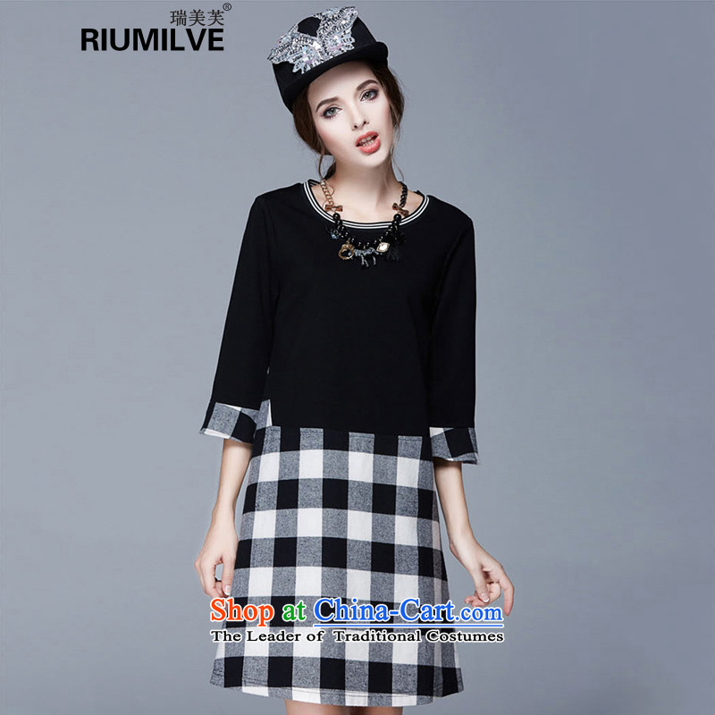 Rui Mei to�15 XL women with new expertise autumn mm thin stitching grid graphics 7 Cuff Sau San dresses N1003�L black