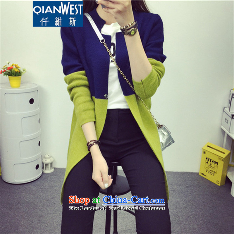 In 2015, the centers' mm autumn large mount female Korean version of knitwear LADIES CARDIGAN knocked color jacket sweater Iranian barrier green 2XL recommended weight 120-140 catty