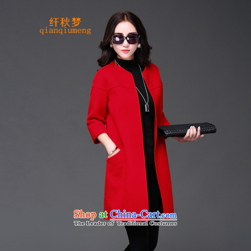 The former Yugoslavia autumn 2015 new stylish dream female Western Wind stylish commuter wild video thin stitching without collars duplex wool cashmere overcoat female A39-861? red燣
