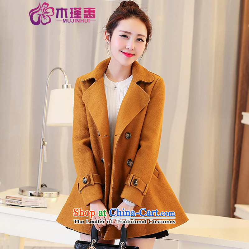 Wooden Geun-hye gross coats female autumn and winter? 2015 new women's large in long-sleeved cloak long thick a female Korean jacket lapel jacket?and color?M_160_84a_ date benefited 2,657