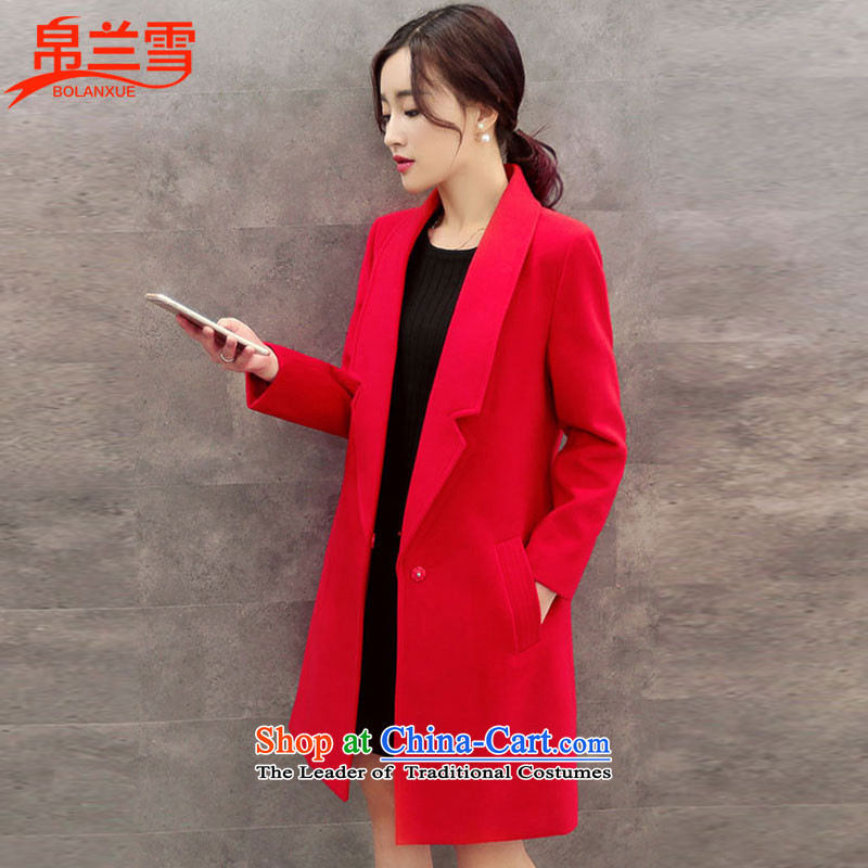 8Estimated snow fur coats female new 2015? for women and women in the Korean version of Western business suits, wool and trendy red jacket?. M
